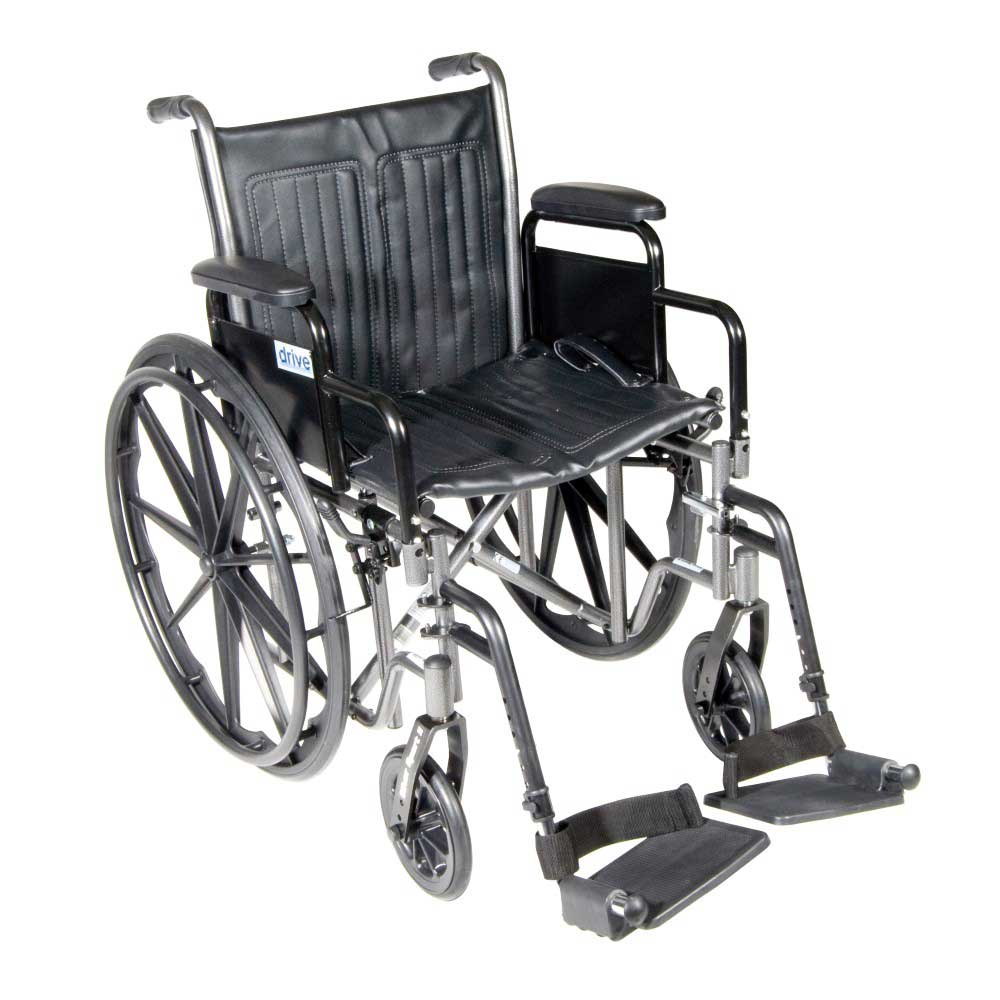 Drive Medical Silver Sport 2 With Desk Arms and Footrests 20""