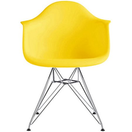 Mid Century Kitchen Chairs | 2xhome Yellow Mid Century Modern Industrial Plastic Dining Chairs Eiffel Molded With Arms Armchairs Chrome Metal Silver Legs Desk Accent Chair Vintage