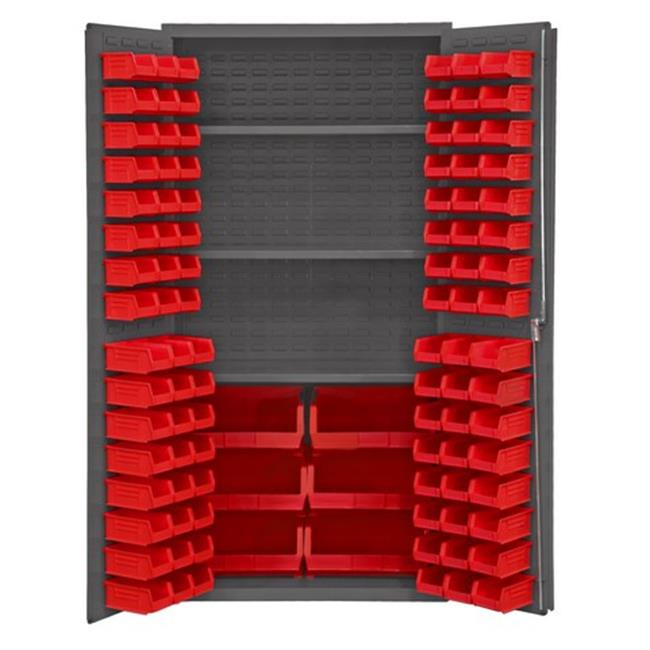 14 Gauge Flush Door Style Lockable Cabinet with 102 Red Hook on Bins & 3 Adjustable Shelves, Gray - 36 in.