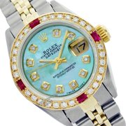 Pre-Owned Rolex Ladies Datejust Blue Mother of Pearl Diamond Dial & Bezel Two Tone 26mm