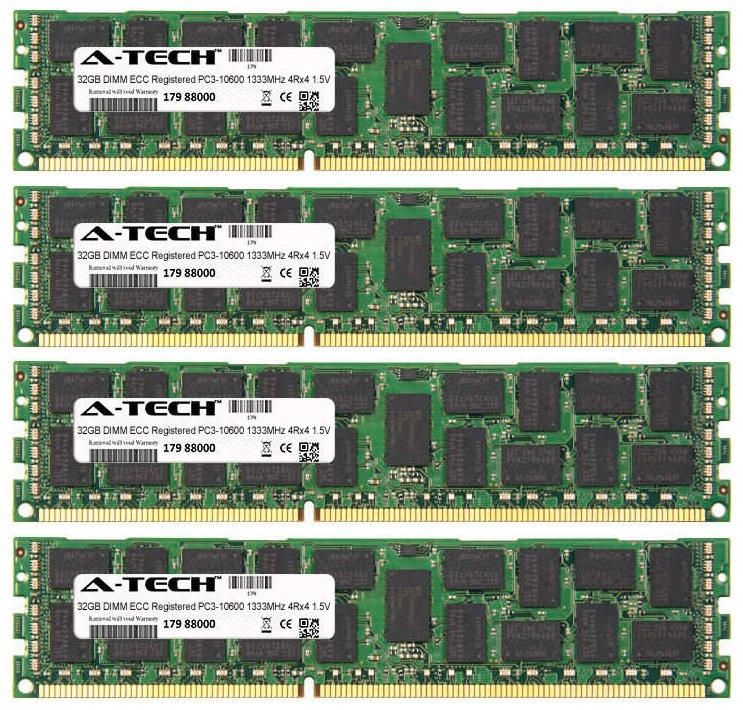 128GB Kit 4x 32GB Modules PC3-10600 1333MHz 1.5V 4Rx4 ECC Registered DDR3 DIMM Server 240-pin Memory Ram