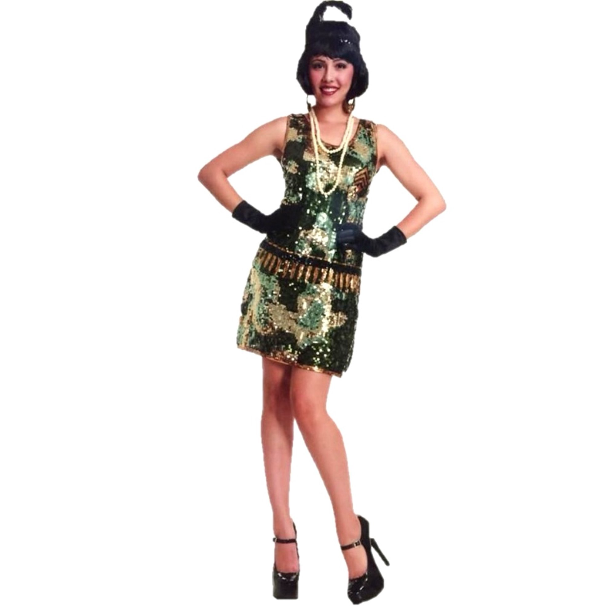 1e0fe8bc G.I Gal Sequin Camo Flapper Dress Halloween Costume Adult Womens Camouflage    Walmart Canada