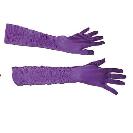 Funny Fashion Elegant Fancy Gathered Silk Gloves, Purple, One-Size (Long Silk Gloves)