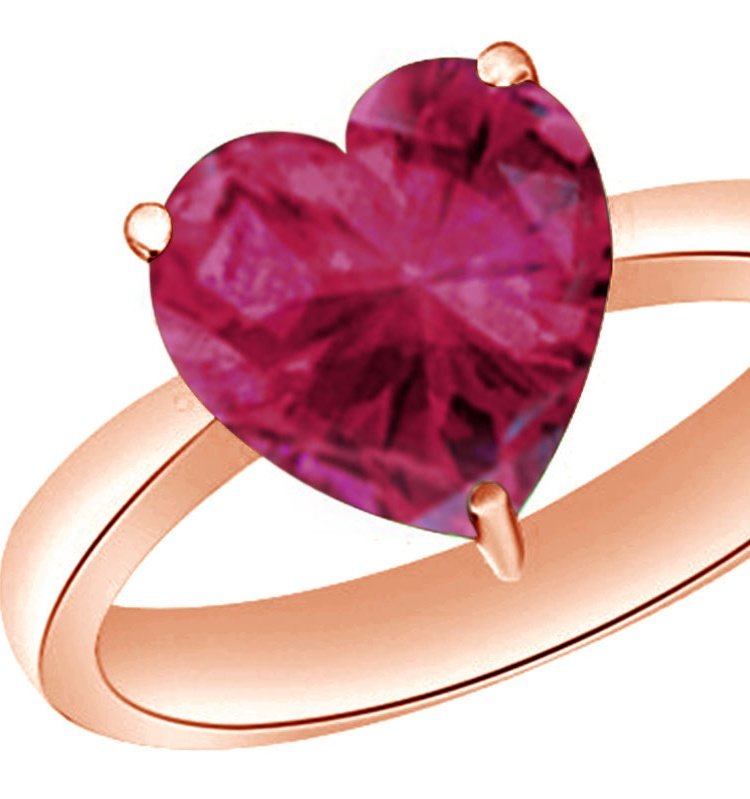 Heart-Cut Simulated Pink Ruby July Birthstone Solitaire Ring In 14K Rose Gold Over Sterling Silver By Jewel Zone US... by Jewel Zone US