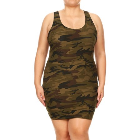 Women\'s Plus Size Camouflage Racerback Tank Bodycon Dress