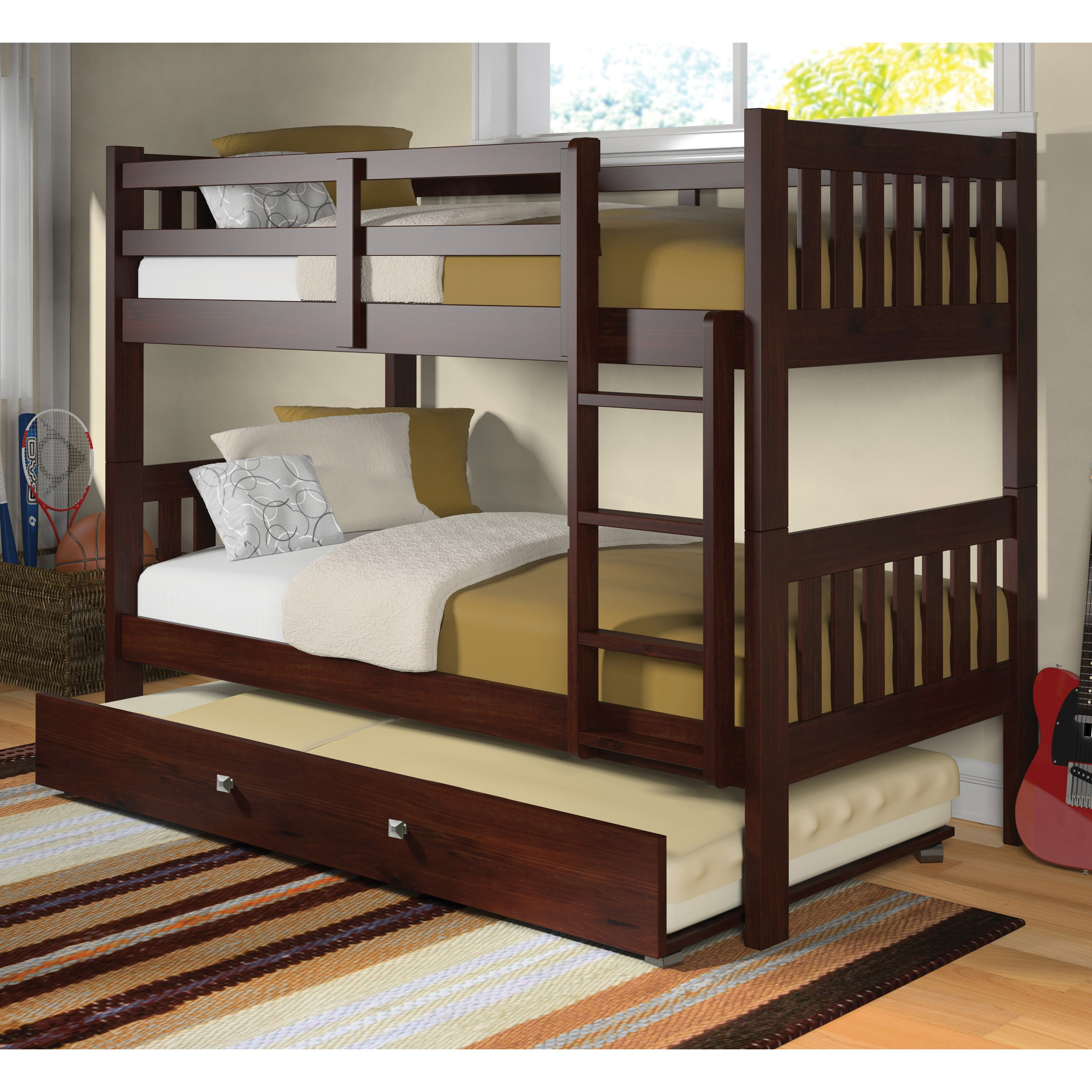 Donco Twin over Twin Bunk Bed Dark Cappuccino by Donco Trading Co