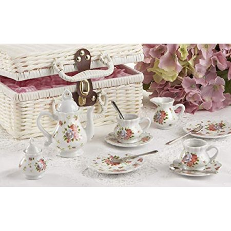 """Deluxe Quality Porcelain childs Tea Set for 2 with Utensils and Real Pouring Teapot, """"Dainty Sue"""" in Basket - image 1 of 2"""