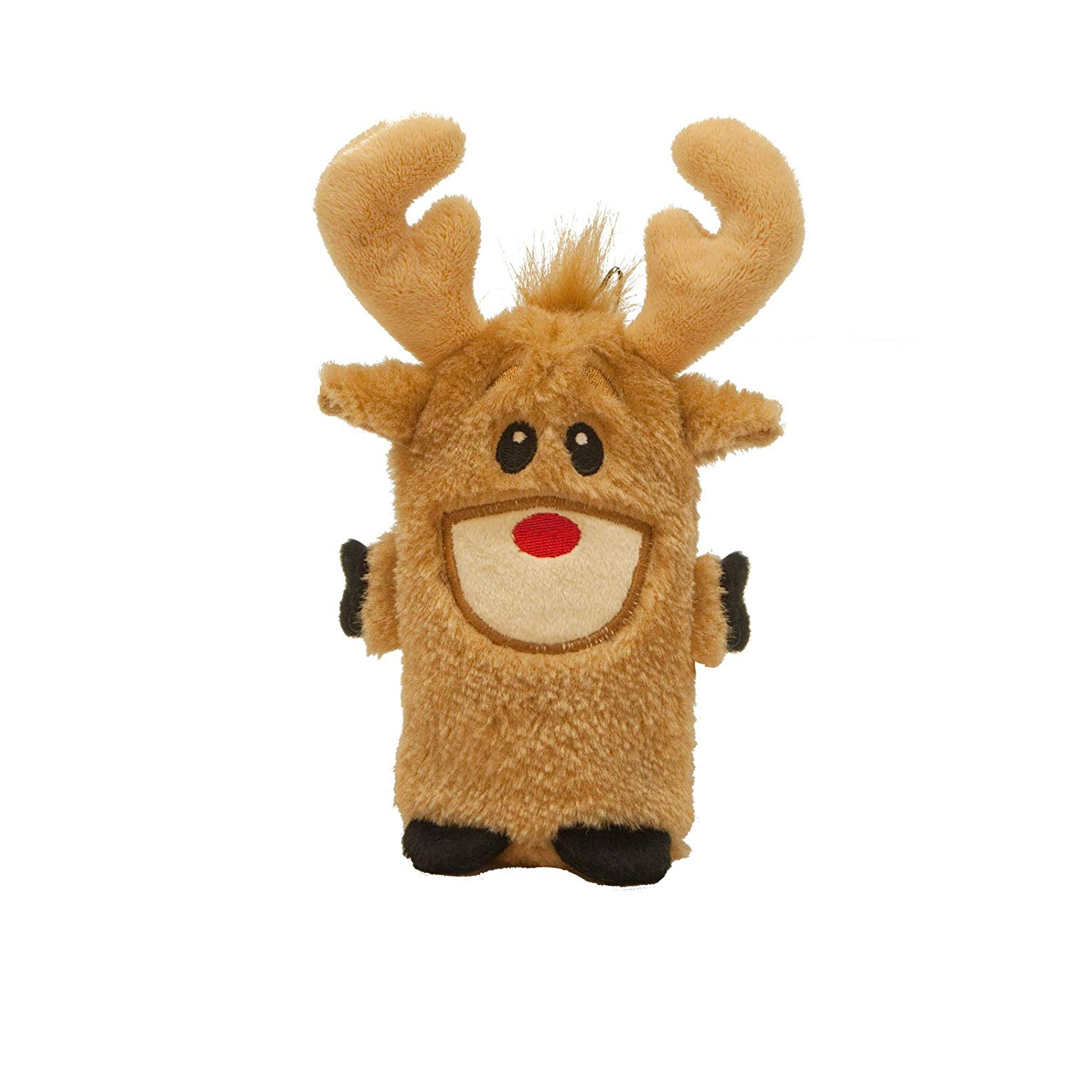 Kyjen 32105 Invincible Reindeer Mini Christmas Toy Squeaking Stuffingless Durable Dog Toy, Small, Brown, Brown, Holiday plush toy for dogs By Outward Hound