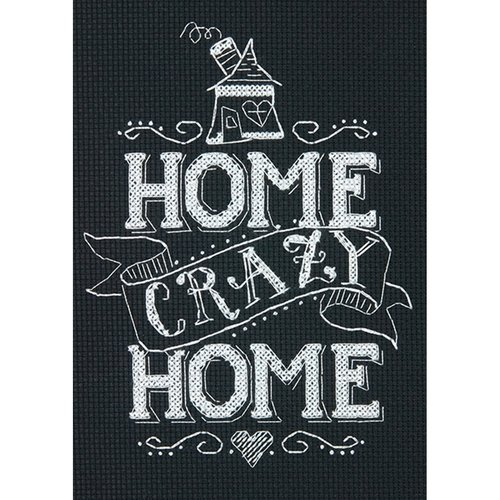 """Home Crazy Home Mini Counted Cross Stitch Kit, 5"""" x 7"""", 14-Count"""