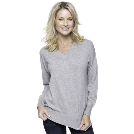 Pure Cashmere Crewneck Sweater - Tocco Reale Women's Cashmere Blend Deep V-Neck Sweater