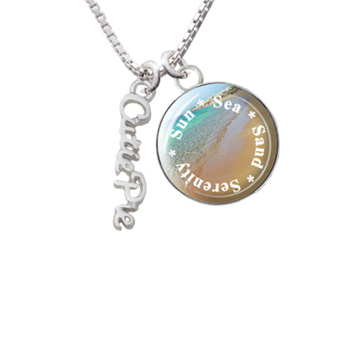 "Small Cutie Pie Script Sun Sea Sand Serenity Glass Dome Necklace, 18""+2"""