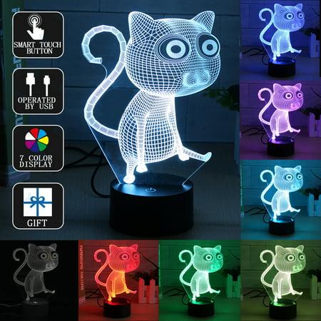 Cartoon Cat 3D LED Night Light 7 Color Change Touch Switch Desk Lamp Kids Children Christmas Birthday