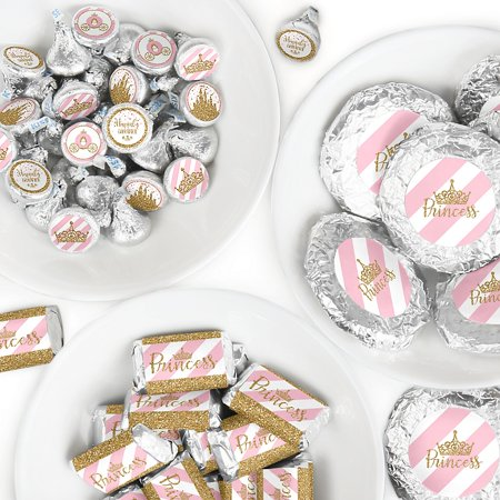 Little Princess Crown - Mini Candy Bar Wrappers, Round Candy Stickers and Circle Stickers - Pink and Gold Princess Baby Shower or Birthday Party Candy Favor Sticker Kit - 304 Pieces ](Birthday Crown Party City)