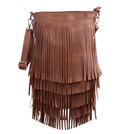 92430a2074 HDE - HDE Leather Fringe Shoulder Bag Crossbody Tassel Handbag Women s Purse  (Dark Camel) - Walmart.com