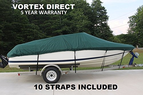 "New VORTEX HEAVY DUTY 26 FT *GREEN* VHULL FISH SKI RUNABOUT COVER FOR 24'1"" TO 25 to 26 FT BOAT, BEST AVAILABLE... by Vortex"