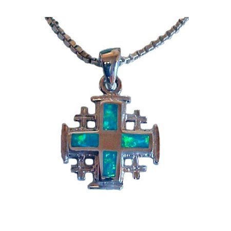 Jerusalem Cross With Opal Stones](Wholesale Necklaces)