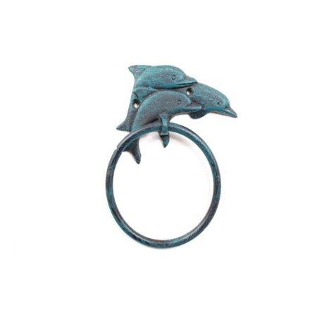 Iron Towel Holders - Seaworn Blue Cast Iron Dolphins Towel Holder 7