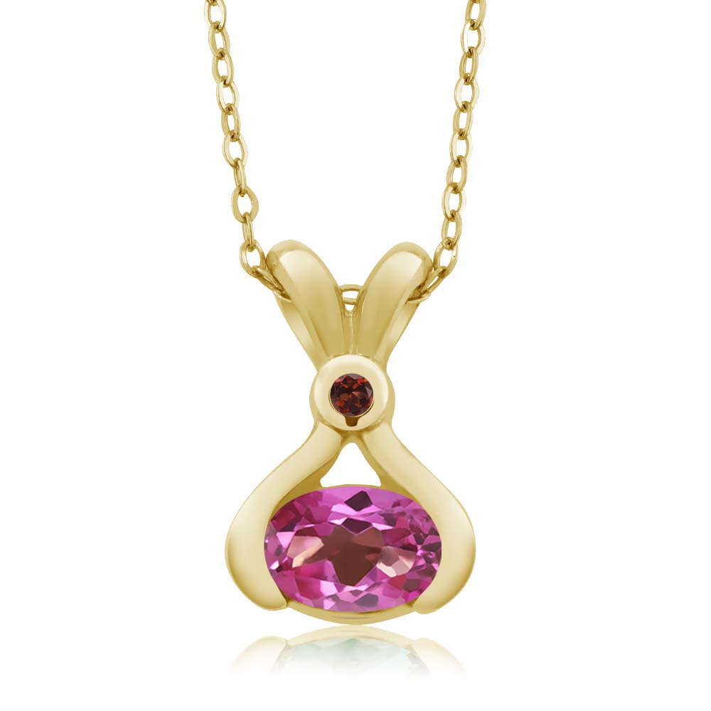 0.84 Ct Oval Pink Mystic Topaz Red Garnet 18K Yellow Gold Pendant by