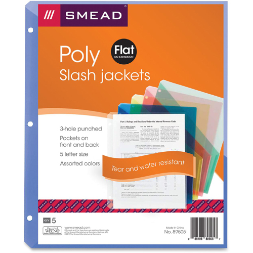 Smead Poly Slash Jackets, Translucent, Three-Hole Punched, Letter Size, Assorted Colors, 5 Count