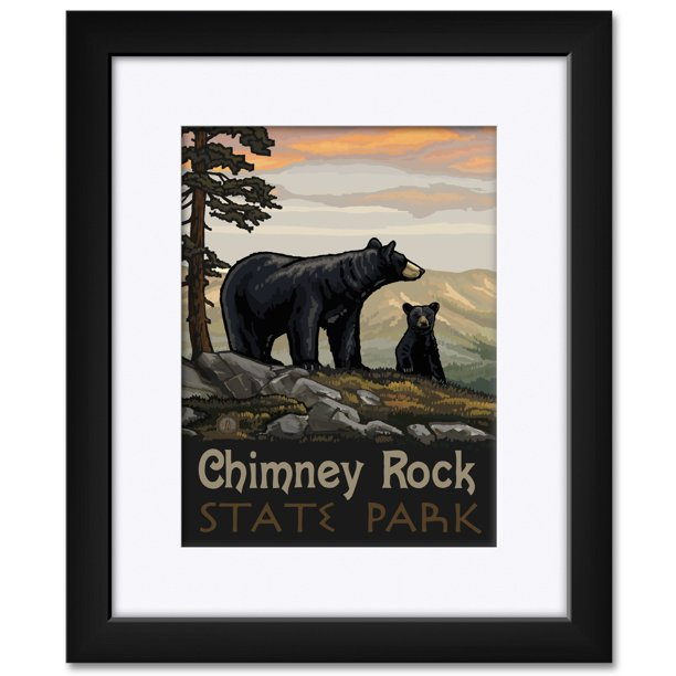 Chimney Rock State Park North Carolina Black Bear Family Framed Matted Art Print By Paul A Lanquist Print Size 9 X 12 Framed Art Size 15 X 19 Walmart Com