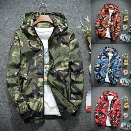 - Mens Camo Hoodie Zip Up Jacket Sweatshirt Hooded Top Warm Coat Jacket Outwear