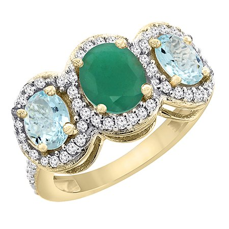 14K Yellow Gold Natural HQ Emerald & Aquamarine 3-Stone Ring Oval Diamond Accent, size (Emerald 3mm Accented Ring Setting)
