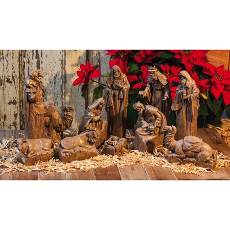 Nativity Garden - Evergreen Enterprises Nativity Set with Natural Finish and Metallic Accent