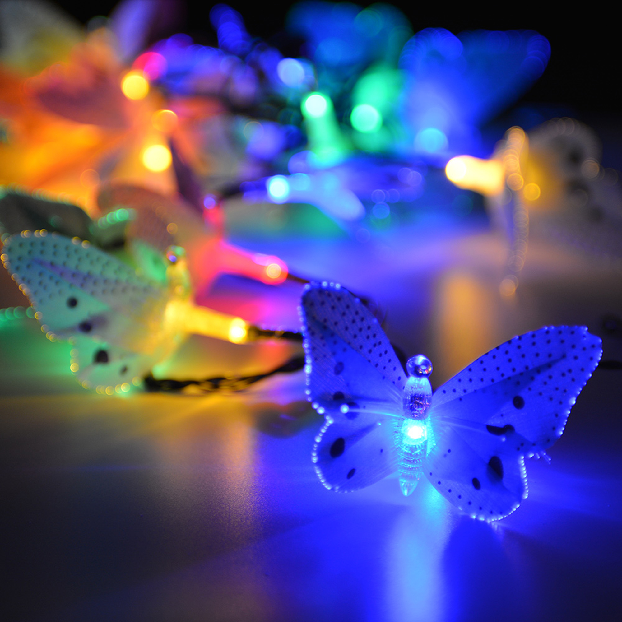 Image of 12 LED Outdoor Fiber Optic Butterfly Solar String Light Colorful Lights Decorative Lights