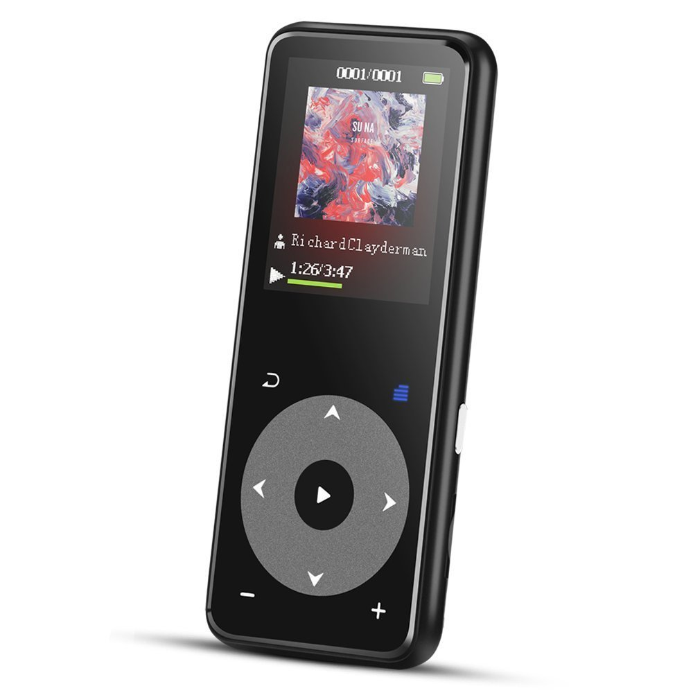 AGPTEK 8GB Bluetooth MP3 Player with 1.8in TFT Screen, Metal Lossless Music Player with FM Radio/Voice Recorder, Black