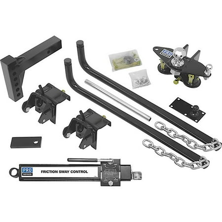 Competition Sway Bar (10,000 lb Gtw/1,000 lb Tw Pro Series Round Bar Wt Dist Complete Kit with Sway Control/Shank/Ball/Chains Replacement Auto Part, Easy to)