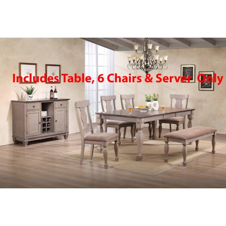 Birch Dining Room Side Table - Joanna 8 Piece 2 Tone Brown Wood Transitional Rectangle Formal Dining Room Table & 6 Fiddleback Chairs With Buffet Server Set (With 18