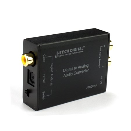 J-Tech Digital ; Digital to Analog Audio Converter Optical SPDIF/Coaxial Digital to RCA L/R Analog Audio 192kHz/24bit Optical and Coaxial DAC with Cirrus CS8416 Digital Receiver Chip Best Quality