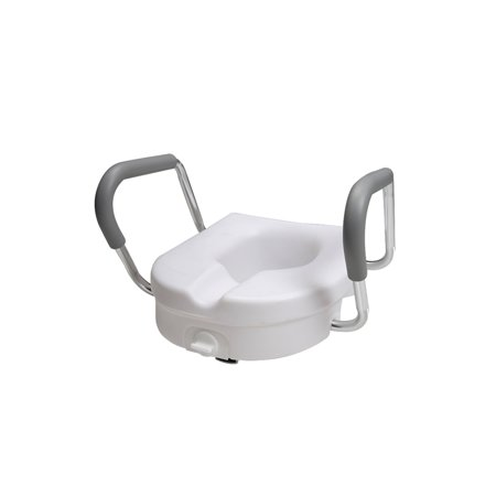 PCP Molded Toilet Seat Riser With Fixed Arm Rests, White, 5 inch rise (seat with fixed arms)