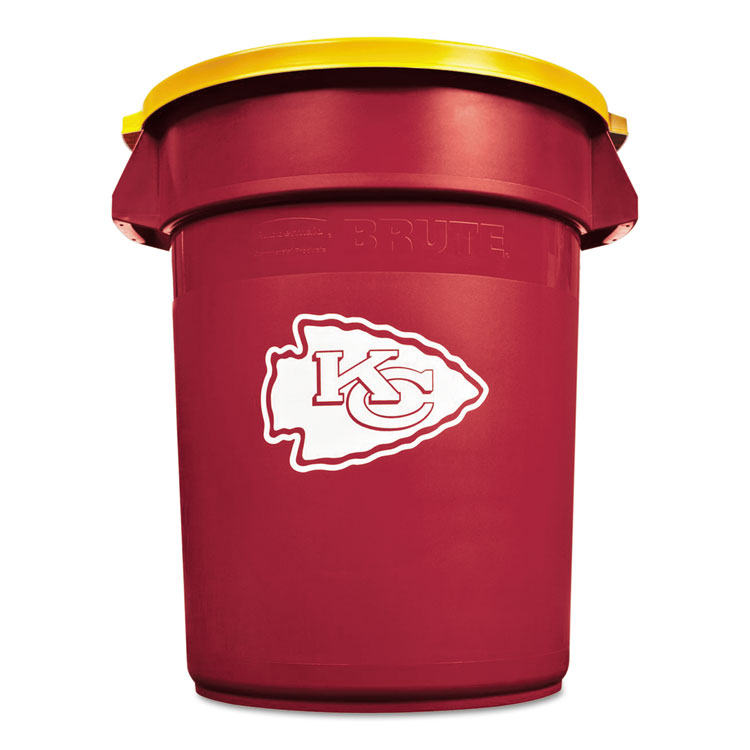Rubbermaid Commercial Team Brute Round Container w/Lid, Chiefs, 32 Gal, Plastic, Red/White/Orange - RCP1857866