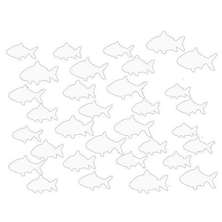 VWAQ Aquatic Animal Stickers, School Of Fish Wall Decor - Peel and Stick Decal, 32 Pack VWAQ (White) ()