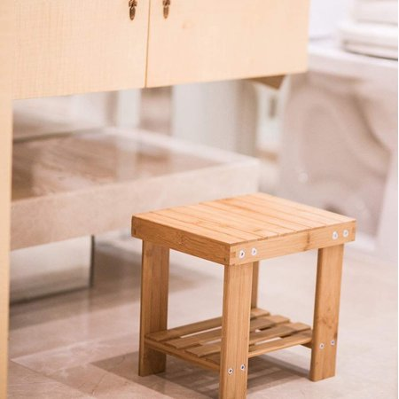 Kids Step Stool Bamboo Lightweight Foot Stool Chair Anti-Slip Bath Shower Stool Bench with Storage Shelf for Toddlers Bathroom Bedroom Living Room Kitchen](Baby Shower Chairs For Sale)