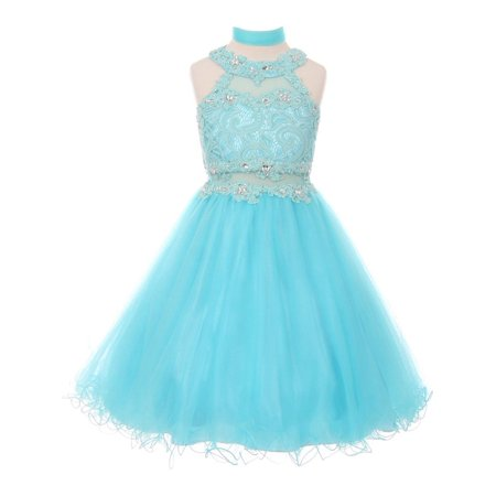 - Girls Aqua Rhinestone Halter Neck Lace Tulle Junior Bridesmaid Dress
