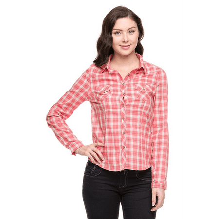 Womens cotton flannel plaid button down roll up long for Plaid button down shirts for women