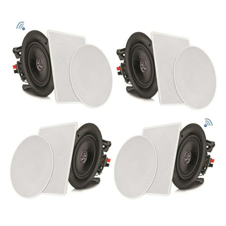 PYLE PDICBT286 - 8'' Bluetooth Ceiling / Wall Speaker Kit, Flush Mount 2-Way Home Speakers, 250 Watt (4 - Ceiling Speaker Mounting Kit