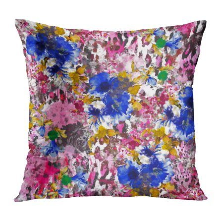 Leopard Roses - ECCOT Yellow Watercolor Pattern Rose Blue Brush Stripe Plaid and Leopard Abstract Flower and Black Pillowcase Pillow Cover Cushion Case 20x20 inch