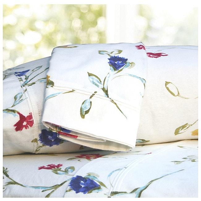 Tribeca Living Floral Garden Printed Extra Deep Pocket Flannel Sheet Set