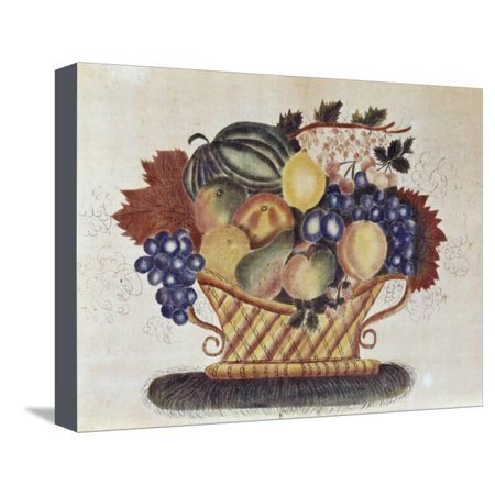 Fruit Filled Basket, Pennsylvania Dutch, 19th century Stretched Canvas Print Wall Art