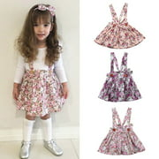 Newborn Toddler Baby Girls Floral Party Princess Bib Strap Skirt Dress Outfits