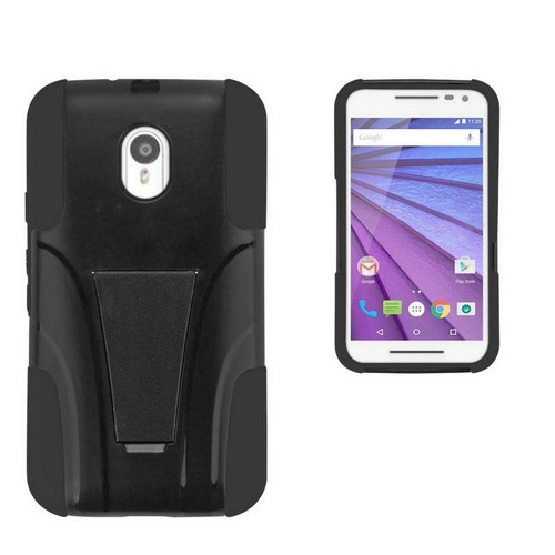 """eDragon Shell Polycarbonate Case with Built-in Foldable Kickstand """"Hyber"""" for Motorola Moto G 3rd Generation Black/Black"""