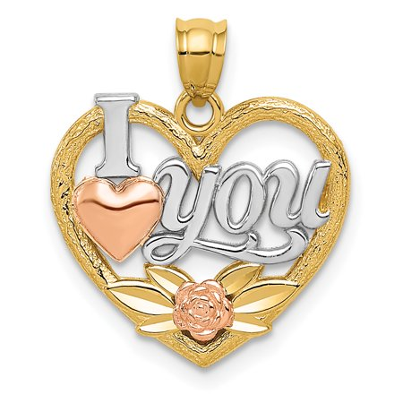 14k Yellow and White Gold Two-tone and Rhodium I Love You Heart Pendant Length 20mm - image 2 of 2