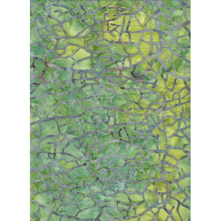 """Tonga Batik Blue Crackle on Lemon Lime Zest Batik B9109 ~ HALF YARD ~ Quilt Fabric 100% Cotton 45"""" Wide, Blue grey crackle chain stamped on lime green and.., By Timeless Treasures"""