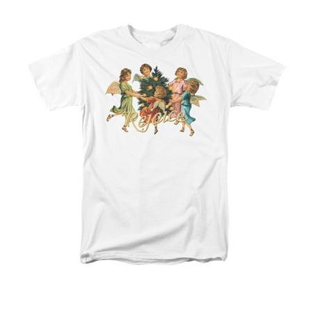 Christmas Angels Rejoice Around the Tree Christmas Print Adult T-Shirt