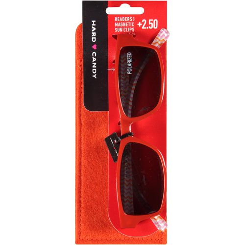Hard Candy Readers with Magnetic Sun Clips, Eyeland Sunset -- Orange, 3 count