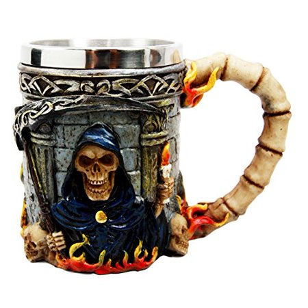 Scythe Grim Reaper (Atlantic Collectibles Day Of The Dead Holy Death Fire Grim Reaper With Scythe Beer Stein Tankard Coffee Cup Drink Mug)
