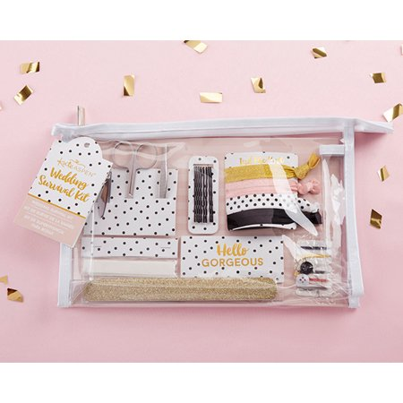 Hello Gorgeous Survival Kit In a chic and timeless polka dot print, our Classic Wedding Survival Kit protects you from the stresses of a fashion emergency! Inside the kit is everything you and your bridal party need to fix nail, hair, cosmetic, or fashion emergencies, and all the pieces are organized together in a chic and versatile clear vinyl cosmetics case. Let your worry go and focus on the fun with a kit that takes care of everything! Features and facts: A practical and adorable black and white polka dot print wedding survival kit with items brides and bridesmaids need to ensure the wedding day goes smoothly Survival kit includes: manicure set with nail clippers, tweezers, and scissors, nail file, 4 hair ties, 8 bobby pins, paper clothing tape, 12 absorbing wipes, and sewing kit displayed in a clear vinyl cosmetic bag Measures 10.2  w x 6.7  h x 2.1  d